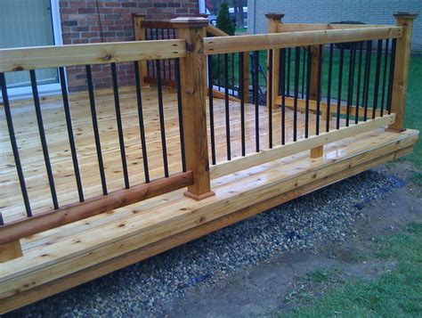 Metal Pickets Deck Railing Wood Deck Railing With Metal Balusters Home Design Ideas