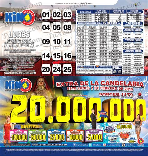 loteria kino tachira sorteo nro 1231 tuazar loter 237 a kino t 225 chira sorteo nro 1178 listado 171 tuazar