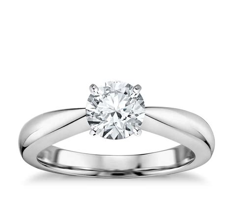 classic tapered four prong engagement ring in 14k white