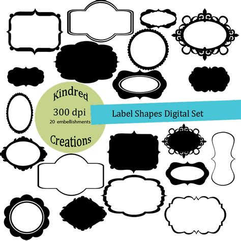free printable label shapes unique digital designs and scrapbook kits label shapes
