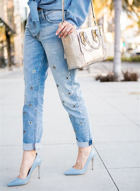 embellished jeans  spring  casual friday
