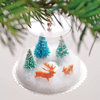 how to mske christmas ornaments with plastic cups easy craft plastic cup snow globes