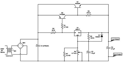 high current transistor voltage regulator high current dc regulated power supply circuit with lm317 5 current with voltage
