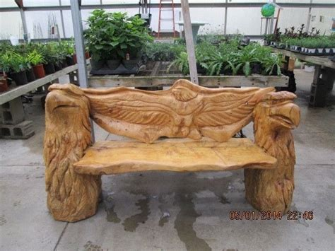 chainsaw bench carving chainsaw carved eagle bench garden pinterest benches