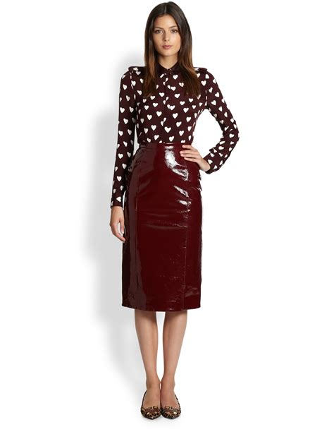 burberry prorsum patent leather skirt in lyst