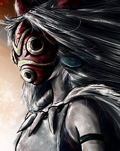 film ghibli bagus princess mononoke poster forest spirit mask ashitaka print