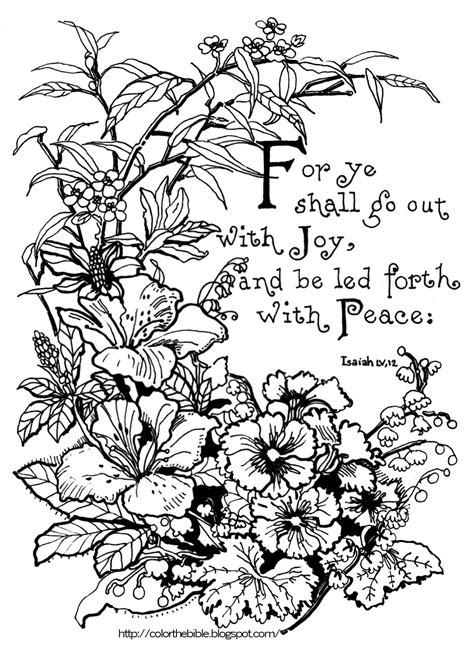 bible coloring pages joy isaiah 55 12 lilies and pansies color the bible