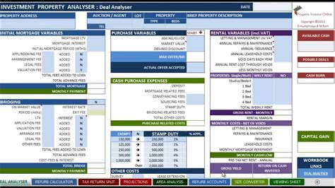 The Investment Property Analyser Part 1 Deal Analyser Youtube Investment Property Spreadsheet Template
