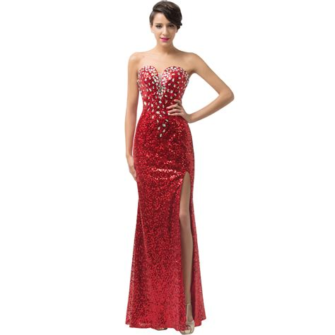 Id 1658 Sequins Strapless Split Dress new grace karin strapless split gown sequins formal evening dress gown