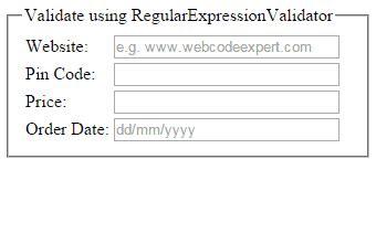email format validation in asp net regularexpressionvalidator to validate website url date
