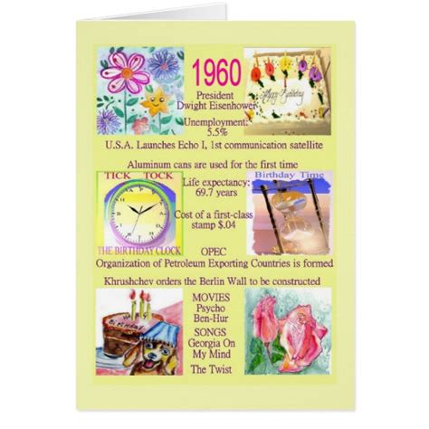 1960s fun facts 1960 birthday with fun facts about the year card zazzle