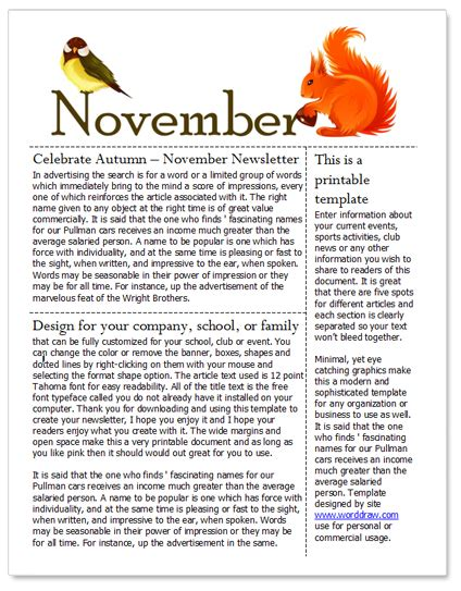 free november newsletter template for microsoft word by
