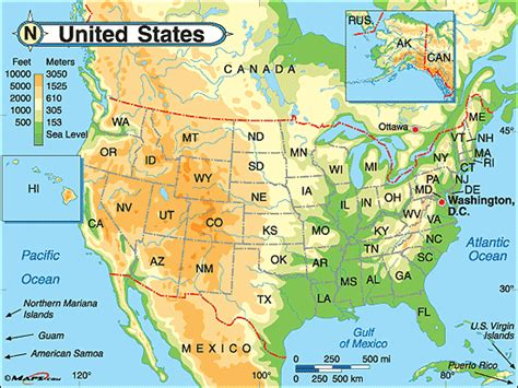 physical map of the united states for physical map of united states and canada