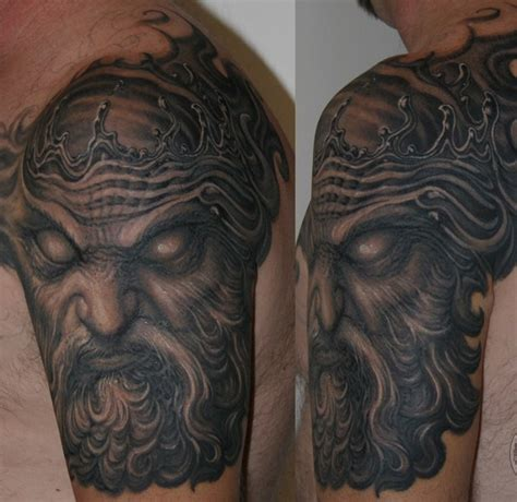 paul booth tattoo designs poseidon half sleeve by paul booth design of