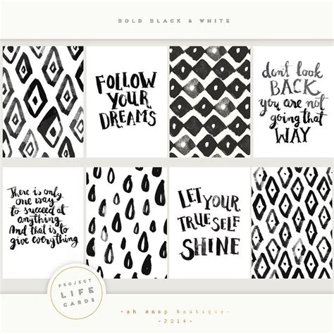1405 Best Images About Printable Journaling Cards Pages Covers On Pinterest Black And White Card Templates Printable