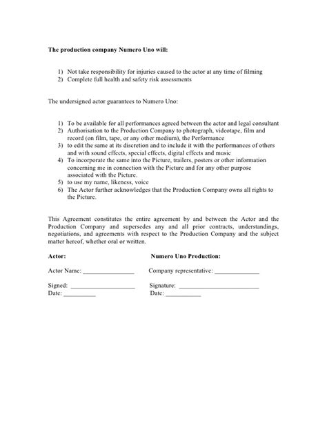 Actor Agreement Form Actor Contract Template
