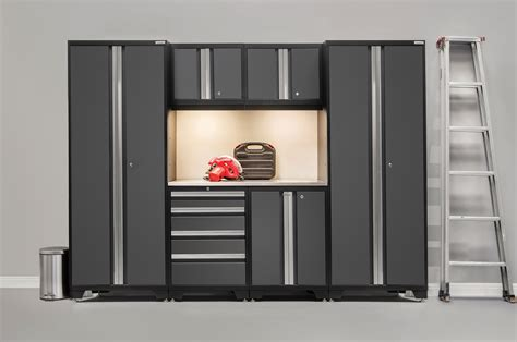 7 standard garage storage system with stainless steel newage products bold 3 0 series 7 garage storage cabinet set with stainless steel worktop