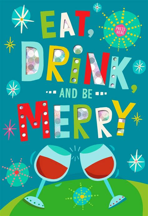 eat drink   merry musical christmas card greeting cards hallmark