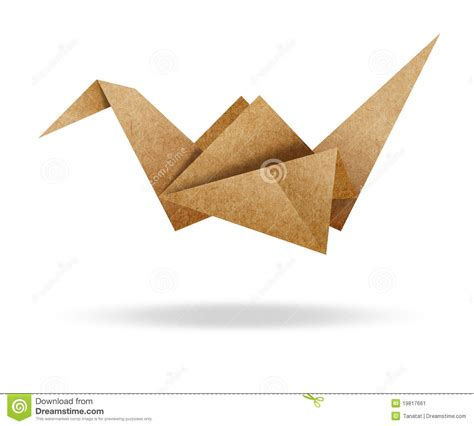 cardboard origami origami bird from brown paper cardboard on white stock