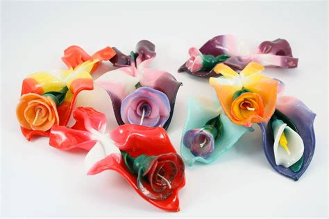 candele decorate candela bouquet rosa neutro candele shop