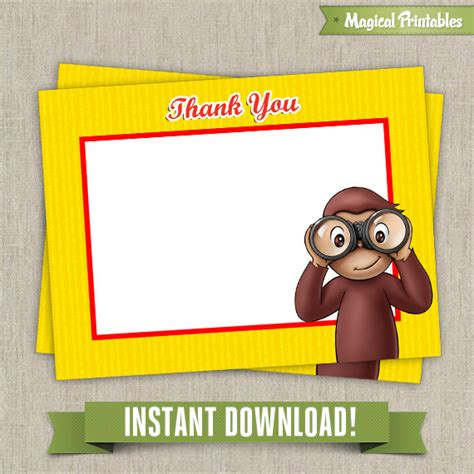 curious george birthday card template curious george blank birthday thank you cards