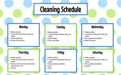 sle cleaning schedule template printable house cleaning schedule template house plan 2017