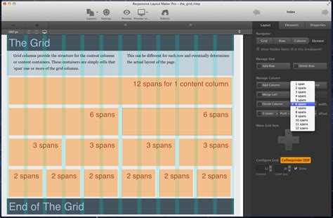 layout maker chapter 1 managing the responsive grid with layout maker coffeecup software