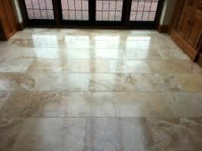 Travertine tiled floor maintained in east grinstead