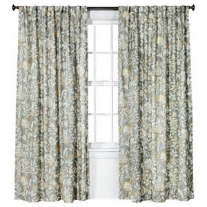 Gray Floral Curtains Threshold Jacobean Floral Curtain Panel Gray Target