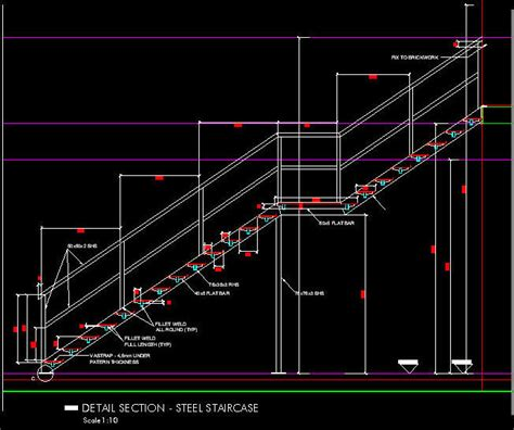 stair section detail dwg cad details steel staircase 1