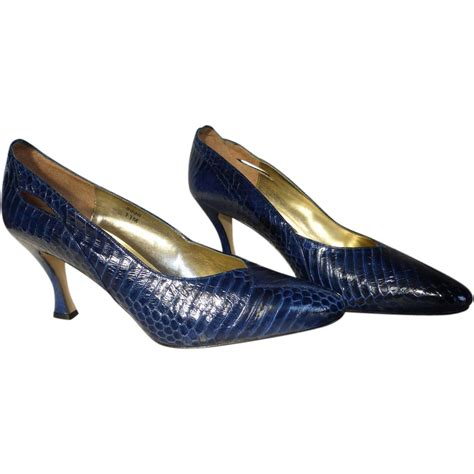 snakeskin high heel boots vintage blue snakeskin high heel shoes size 11m from