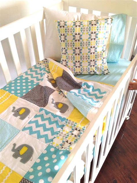 Yellow And Grey Elephant Crib Bedding Elephant Baby Crib Quilt In Aqua Grey And By Alphabetmonkey 190 00 Baby Pinterest