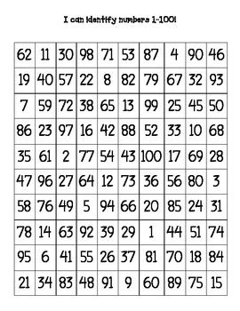 printable table of random numbers mixed up numbers charts by kayla grovenstein teachers