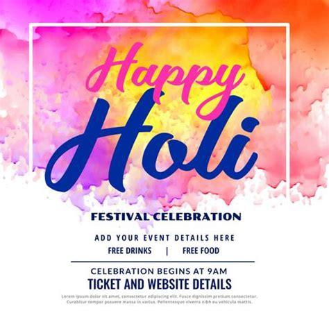 Holi Festival Invitation Cards happy holi festival celebration invitation card design