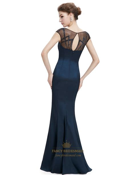 navy blue beaded prom dress navy blue sheer back prom dresses with beaded top fancy