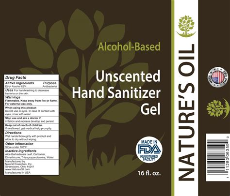 natures oil unscented hand sanitizer gel natural essentials