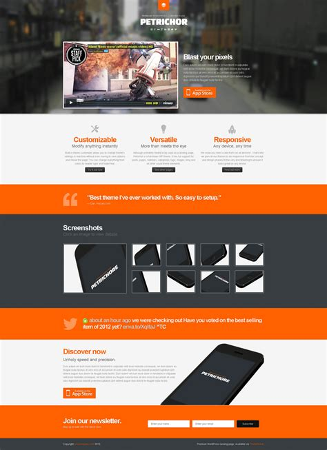 wordpress templates for landing pages petrichor responsive wordpress landing page by