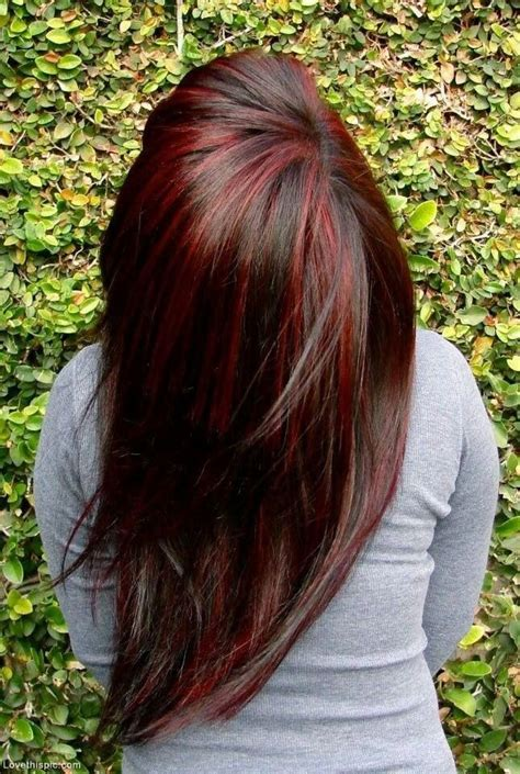 red lowlights dark brown with red highlights hair pinterest