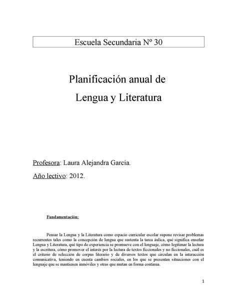 Calaméo - Planificación de Lengua. Esc. Sec. Nº30