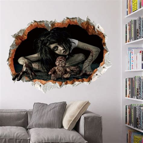 zombie home decor wall stickers black halloween zombie 3d broken wall art