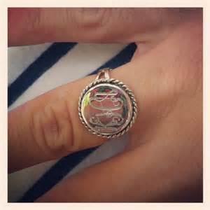 Monogrammed Silver Rings Sterling Silver Monogram Ring