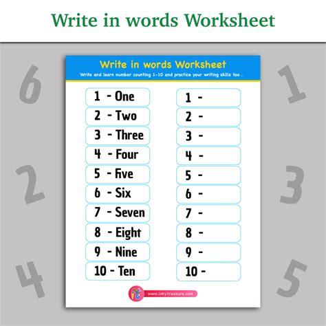 Learning To Write Numbers 1 10 Worksheets by Write In Words Worksheet Inky Treasure