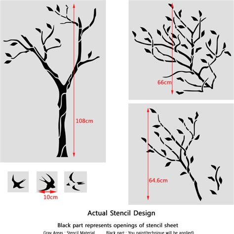 large tree template for wall large tree with birds wall stencil reusable stencil for