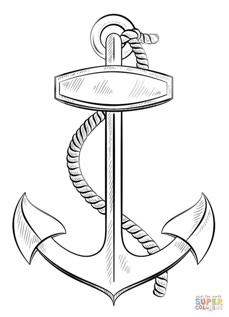 anchor with rope coloring page free printable coloring