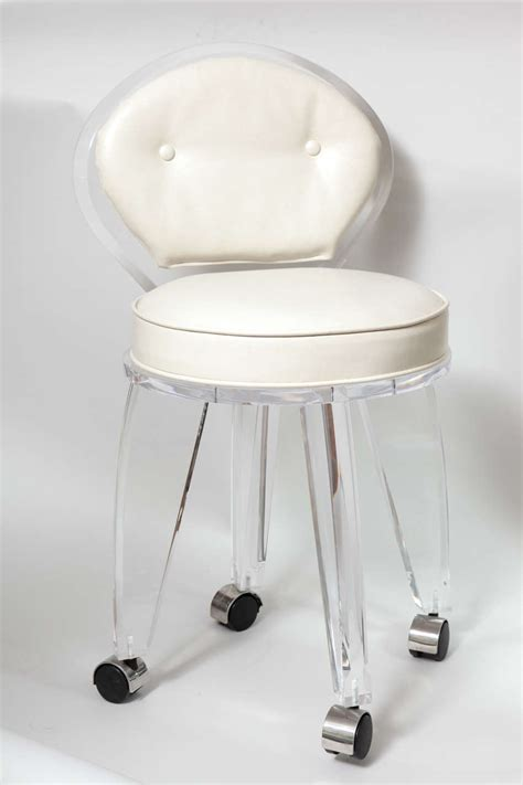 Lucite Upholstered Rolling Swivel Vanity Chair At 1stdibs Swivel Vanity Chairs