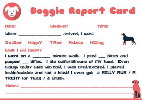 Doggie Report Card Design Petsitter Dogwalker Free Pet Business Designs Pinterest Walking Report Card Template