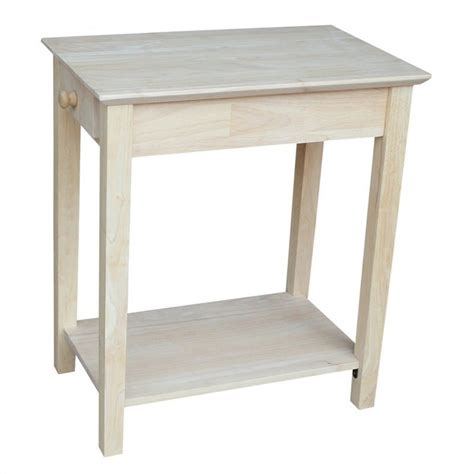 thin accent table unfinished narrow 1 drawer end table ot 2214