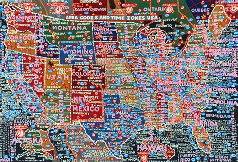 area code map usa time zones paula scher s painted semi accurate maps of america