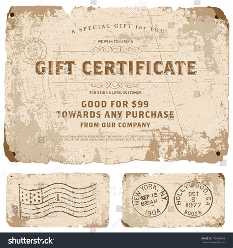 retro cer vector vintage gift certificate template set stock vector