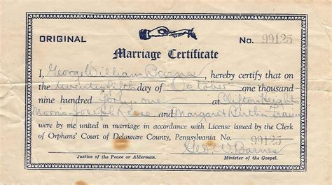 Delaware Marriage License Records Blank Marriage License Pennsylvania Images